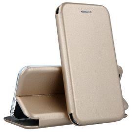 """Auksinės spalvos atverčiamas dėklas Huawei P Smart """"Book Elegance"""""""