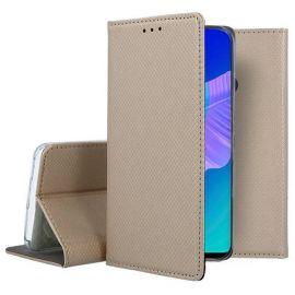 """Auksinės spalvos atverčiamas dėklas Huawei P40 Lite E / Y7 P """"Smart Magnet"""""""