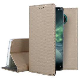 """Auksinės spalvos atverčiamas dėklas Nokia 6.2 / 7.2 """"Smart Magnet"""""""