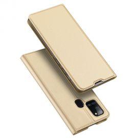 """Auksinės spalvos atverčiamas dėklas Samsung Galaxy A217 A21s """"Dux Ducis Skin Pro"""""""
