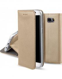 """Auksinės spalvos atverčiamas dėklas Samsung Galaxy G925 S6 Edge """"Smart Magnet"""""""