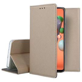 """Auksinės spalvos atverčiamas dėklas Samsung Galaxy M11 / A11 """"Smart Magnet"""""""