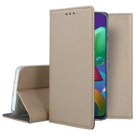 """Auksinės spalvos atverčiamas dėklas Samsung Galaxy M21 """"Smart Magnet"""""""