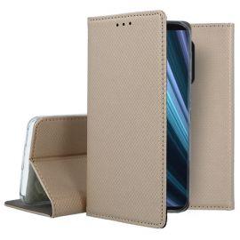 """Auksinės spalvos atverčiamas dėklas Sony Xperia 1 / XZ4 """"Smart Magnet"""""""
