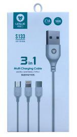 Baltas USB kabelis Leslie S133 3in1 microUSB-Lightning-Type-C FastCharging , 1.0m