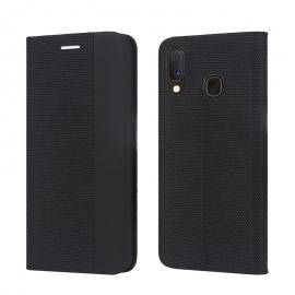 """Juodas atverčiamas dėklas Samsung Galaxy A202 A20e """"Smart Senso"""""""