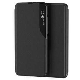 """Juodas atverčiamas dėklas Xiaomi Redmi Note 10 / Redmi Note 10S """"Smart View"""""""