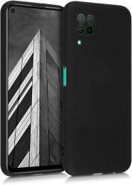 """Juodas silikoninis dėklas Huawei P40 Lite """"Liquid Silicone"""" 1.5mm"""