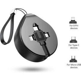 Juodas USB kabelis Baseus Waterdrop three-in-one Micro-USB-Lightning-Type-C 1.5A 1.5M CAMLT-EP01