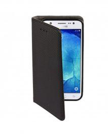 """Juodos spalvos atverčiamas dėklas Samsung Galaxy J500 J5 """"Smart Magnet"""""""