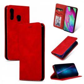 """Raudonas atverčiamas dėklas Samsung Galaxy A405 A40 """"Business Style"""""""