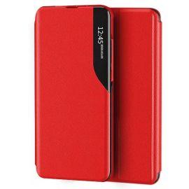 """Raudonas atverčiamas dėklas Xiaomi Redmi Note 10 / Redmi Note 10S """"Smart View"""""""