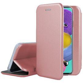 """Rožinės-auksinės spalvos atverčiamas dėklas Samsung Galaxy A515 A51 """"Book Elegance"""""""