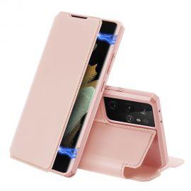 """Rožinis atverčiamas dėklas Samsung Galaxy G998 S21 Ultra 5G """"Dux Ducis Skin X"""""""