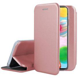 """Rožinis-auksinis atverčiamas dėklas Samsung Galaxy A750 A7 2018 """"Book Elegance"""""""