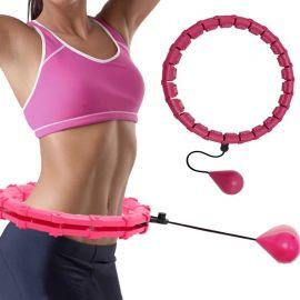 Rožinis masažuojantis gimnastikos lankas Smart Hula Hoop HHP002