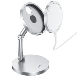 Sidabrinis įkroviklis-laikiklis belaidis Hoco PH39 magnetinis stovas telefonui