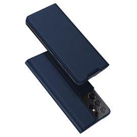 """Tamsiai mėlynos spalvos atverčiamas dėklas Samsung Galaxy G998 S21 Ultra 5G """"Dux Ducis Skin Pro"""""""