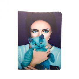 """Universalus dėklas planšetiniam kompiuteriui Lady with cat 9-10"""""""